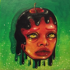 """Poison Apple"" 5x5 Acrylic on wood pannel SOLD"