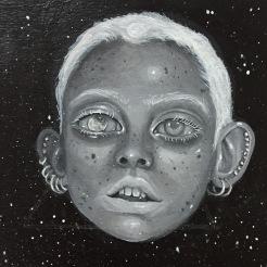 """""""Moon Boy"""" 5x5 acrylic on wood panel 2017"""